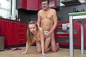 Old Goes Young Steamy Sex In The Kitchen Between Young